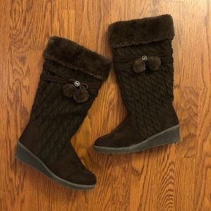 Michael Kors Kendall Update Brown Faux Suede Boots